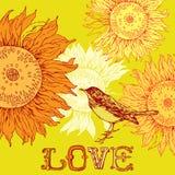 Uitstekende achtergrond met vogel en zonnebloemen. Stock Fotografie