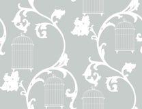 Uitstekende achtergrond met vogelkooien Stock Afbeeldingen