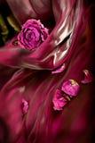 Uitstekende achtergrond: Rode droog nam op satijn toe Royalty-vrije Stock Fotografie