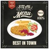 Uitstekende affiche lapje vleesmenu Reeks op het bord Ontwerp in retro vector illustratie
