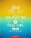 Uitstekende affiche met het citaat van de de zomervakantie Stock Afbeelding