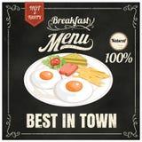 Uitstekende affiche Ontbijtmenu Reeks op het bord Ontwerp binnen Stock Foto's