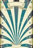 Uitstekende affiche van circus de blauwe stralen Stock Foto