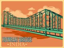 Uitstekende affiche van de Brug van Howrah in het beroemde monument van Kolkata van India vector illustratie