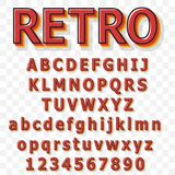 Uitstekende alfabet vectordoopvont Oude stijllettersoort Stock Afbeeldingen