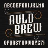 Uitstekende alfabetdoopvont Overladen brieven voor etiketten vector illustratie