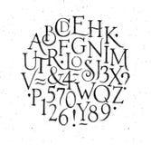 Uitstekende alfabetletters en getallen zwarte Royalty-vrije Stock Fotografie