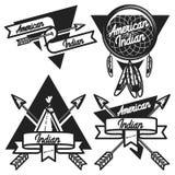 Uitstekende Amerikaanse Indische emblemen stock illustratie