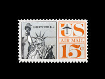 Uitstekende Amerikaanse post geïsoleerdet luchtpostzegel Stock Afbeelding