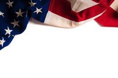 Uitstekende Amerikaanse Vlag op wit met exemplaarruimte stock foto's