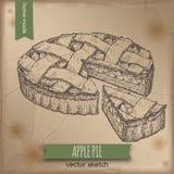 Uitstekende appeltaartschets op oude document achtergrond royalty-vrije illustratie