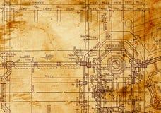 Uitstekende architecturale tekening Stock Afbeeldingen