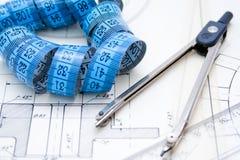 Uitstekende architectuurplannen royalty-vrije stock afbeelding