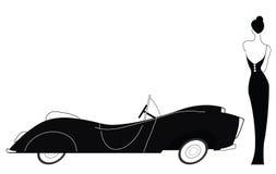 Uitstekende auto en modieuze dame Stock Afbeelding