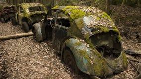 Uitstekende auto's in scrapyard in Zweeds bos stock afbeeldingen
