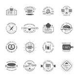 Uitstekende bakkerijkentekens, etiketten en emblemen stock illustratie