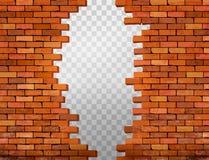 Uitstekende bakstenen muurachtergrond met gat royalty-vrije illustratie