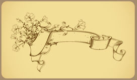 Uitstekende banner met bloem - lijntekening Stock Foto