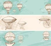 Uitstekende banners met luchtballons royalty-vrije illustratie