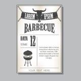 Uitstekende barbecueuitnodiging Royalty-vrije Stock Fotografie