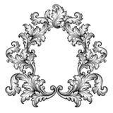 Uitstekende barokke het ornamentvector van de kaderrol vector illustratie