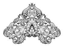 Uitstekende barokke het ornamentvector van de kaderrol Stock Fotografie