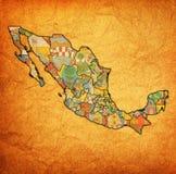 Uitstekende beleidskaart van Mexico stock afbeelding
