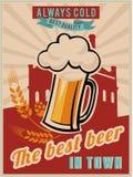 Uitstekende Bieraffiche Stock Afbeelding