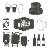 Uitstekende bieremblemen, etiketten en ontwerpelementen Royalty-vrije Stock Foto