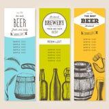 Uitstekende bierlijst voor bar of brouwerij Barmenu Geplaatste banners Getrokken in inkt Royalty-vrije Stock Afbeeldingen