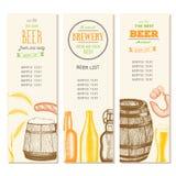 Uitstekende bierlijst voor bar of brouwerij Barmenu Geplaatste banners Getrokken in inkt Stock Foto's