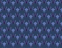 Uitstekende blauwe achtergrond met bloemenornament Stock Foto