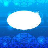 Uitstekende blauwe bloemenachtergrond met tekstframe Royalty-vrije Stock Afbeeldingen