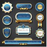 Uitstekende blauwe gouden kader vectorbanners Stock Fotografie