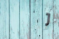 Uitstekende blauwe houten achtergrond Oude doorstane aquamarijnraad Textuur Patroon Stock Foto's