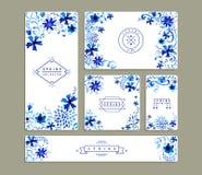 Uitstekende bloemen de kaartinzamelingen van de waterverfgroet Royalty-vrije Stock Foto's