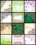 Uitstekende bloemen decoratieve kaarten Stock Foto's