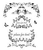Uitstekende bloemen decoratieve kader, kopballen en vignetinzameling Zwart-wit ontwerp voor huwelijk, boutique, verjaardagspartij stock foto