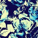 Uitstekende bloemen naadloze patroon van de kunst het zwart-wit waterverf met Royalty-vrije Stock Afbeeldingen