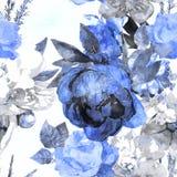 Uitstekende bloemen naadloze patroon van de kunst het zwart-wit waterverf met w stock illustratie