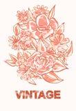 Uitstekende bloemen in sepia met schuring Royalty-vrije Stock Foto