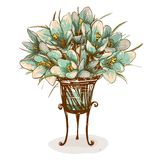 Uitstekende Bloemen in Vaassamenstelling Royalty-vrije Stock Foto