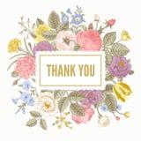 Uitstekende bloemen vectorkaart Royalty-vrije Stock Foto's