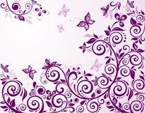 Uitstekende bloemen violette kaart Stock Afbeeldingen