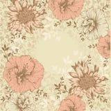 Uitstekende bloemenachtergrond met bloemen Royalty-vrije Stock Foto's