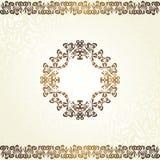 Uitstekende bloemenachtergrond met frame in goud Royalty-vrije Stock Foto's
