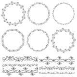 Uitstekende bloemenelementen, zwart op witte achtergrond Malplaatje voor uw ontwerp Gebruikte inbegrepen patroonborstels naadloos Stock Foto's
