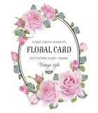 Uitstekende bloemengroetkaart met een kader van waterverfrozen Royalty-vrije Stock Foto