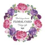 Uitstekende bloemengroetkaart met een kader van waterverfrozen en iris Stock Foto