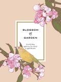 Uitstekende Bloemengroetkaart met Takjes het Bloeien Royalty-vrije Stock Foto's
